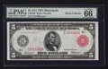 Large Size:Federal Reserve Notes, Fr. 840b $5 1914 Red Seal Federal Reserve Note PMG Gem Uncirculated 66 EPQ.. ...