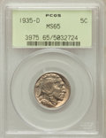 Buffalo Nickels: , 1935-D 5C MS65 PCGS. PCGS Population (431/148). NGC Census:(267/37). Mintage: 12,092,000. Numismedia Wsl. Price for proble...