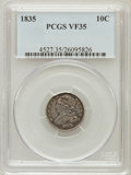 Bust Dimes: , 1835 10C VF35 PCGS. PCGS Population (34/436). NGC Census: (11/420). Mintage: 1,410,000. Numismedia Wsl. Price for problem f...