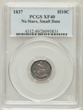 Seated Half Dimes: , 1837 H10C No Stars, Small Date (Flat Top 1) XF40 PCGS. PCGSPopulation (15/207). NGC Census: (0/0). Numismedia Wsl. Price ...