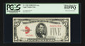 Error Notes:Obstruction Errors, Fr. 1530 $5 1928E Legal Tender Note. PCGS Choice About New 55PPQ.....
