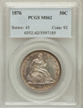 Seated Half Dollars: , 1876 50C MS62 PCGS. PCGS Population (57/135). NGC Census: (40/105).Mintage: 8,419,150. Numismedia Wsl. Price for problem f...