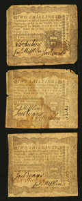 Colonial Notes:Pennsylvania, Pennsylvania April 3, 1772 2s Fine to Very Fine Trio.. ... (Total:3 notes)