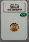 Commemorative Gold, 1926 $2 1/2 Sesquicentennial MS65 NGC. CAC....