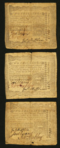 Colonial Notes:Pennsylvania, Pennsylvania April 3, 1772 2s Fine to Very Fine Threesome.. ...(Total: 3 notes)