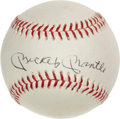 Baseball Collectibles:Balls, Mickey Mantle Single Signed Vintage OAL Cronin Baseball -W/Removals....