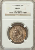 Commemorative Silver: , 1937 50C Boone MS65 NGC. NGC Census: (552/310). PCGS Population(749/462). Mintage: 9,810. Numismedia Wsl. Price for proble...