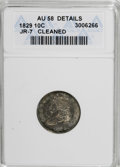 Bust Dimes, 1829 10C Small 10C--Cleaned--ANACS. AU58 Details. JR-7. NGC Census:(33/137). PCGS Population (18/124). Mintage: 770,000. N...
