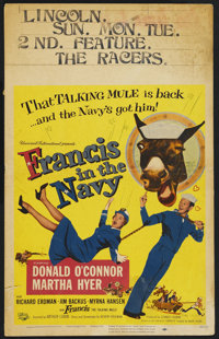 """Francis in the Navy (Universal, 1955). Window Card (14"""" X 22""""). Comedy"""
