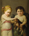 Paintings, BRITISH SCHOOL (Nineteenth Century). Untitled, Double Portrait with Dog. Oil on canvas. 20 x 16 inches (50.8 x 40.6 cm)...