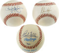Autographs:Baseballs, Roger Clemens/Nolan Ryan/Bob Feller Single Signed Baseballs Lot of3. Three baseball lot consists of official baseballs sig...