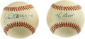 Autographs:Baseballs, Joe DiMaggio and Yogi Berra Single Signed Baseballs Lot of 2. JoeDiMaggio and Yogi Berra are forever linked as two of the ...