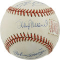 Autographs:Baseballs, Hall of Fame Multi-Signed Baseball. Ten members of the BaseballHall of Fame added their signatures to the ONL (White) base...