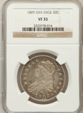 Bust Half Dollars: , 1809 50C XXX Edge VF35 NGC. NGC Census: (2/27). PCGS Population(9/55). Numismedia Wsl. Price for problem free NGC/PCGS co...