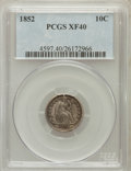 Seated Dimes: , 1852 10C XF40 PCGS. PCGS Population (7/104). NGC Census: (0/80).Mintage: 1,535,500. Numismedia Wsl. Price for problem free...