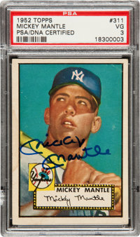 1952 Topps Mickey Mantle #311 Rookie Card, Signed!