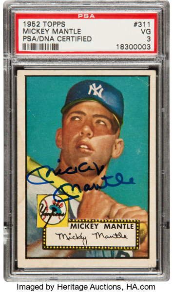 1952 Topps Mickey Mantle 311 Rookie Card Signed