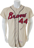 Baseball Collectibles:Uniforms, 1966 Hank Aaron Game Worn Atlanta Braves Jersey, MEARS A9....