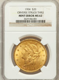 Errors, 1904 $20 Double Eagle, Obverse Struck Thru MS62 NGC. NGC Census: (68968/111792). PCGS Population (55052/87984). Mintage: 6,...