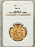 Liberty Eagles: , 1891-CC $10 MS61 NGC. NGC Census: (581/585). PCGS Population(352/425). Mintage: 103,732. Numismedia Wsl. Price for problem...