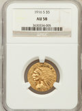 Indian Half Eagles: , 1916-S $5 AU58 NGC. NGC Census: (584/914). PCGS Population(206/772). Mintage: 240,000. Numismedia Wsl. Price for problem f...