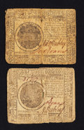 Colonial Notes:Continental Congress Issues, Continental Currency May 9, 1776 $7 Fine-Very Fine Duet.. ...(Total: 2 notes)