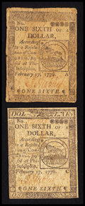 Colonial Notes:Continental Congress Issues, Continental Currency February 17, 1776 $1/6 Fine to Very Fine.. ...(Total: 2 notes)