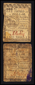 Colonial Notes:Continental Congress Issues, Continental Currency February 17, 1776 $1/3 Fine-Very Fine.. ...(Total: 2 notes)