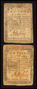 Colonial Notes:Continental Congress Issues, Continental Currency February 17, 1776 $2/3 Fine-Very Fine Duet..... (Total: 2 notes)