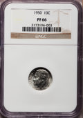 Proof Roosevelt Dimes: , 1950 10C PR66 NGC. NGC Census: (257/296). PCGS Population(613/239). Mintage: 51,386. Numismedia Wsl. Price for problemfre...