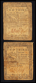 Colonial Notes:Continental Congress Issues, Continental Currency February 17, 1776 $2/3 Fine Pair.. ... (Total:2 notes)