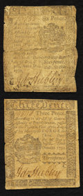 Colonial Notes:Pennsylvania, Pennsylvania April 3, 1772 3d and 6d Very Good-Fine Duo.. ... (Total: 2 notes)