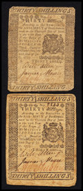 Colonial Notes:Pennsylvania, Pennsylvania July 20, 1775 30s Fine Duo.. ... (Total: 2 notes)