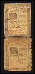 Colonial Notes:Pennsylvania, Pennsylvania July 20, 1775 20s Very Good to Very Fine Duet.. ...(Total: 2 notes)