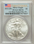 Modern Bullion Coins, 2011-(W) $1 Silver Eagle, US Mint-Sealed First Strike MS70 PCGS.Box #1. PCGS Population (2397). NGC Census: (0). (#50525...