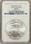 Modern Bullion Coins, 2009 $1 Silver Eagle Early Releases MS69 NGC. PCGS Population(111070/19515). (#404424)...