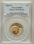 Modern Issues: , 1986-W G$5 Statue of Liberty Gold Five Dollar MS69 PCGS. PCGSPopulation (3830/306). NGC Census: (1646/1998). Mintage: 95,2...