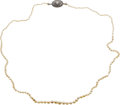 Estate Jewelry:Necklaces, Edwardian Pearl, Diamond, Green Stone, Platinum, Gold Necklace. ...