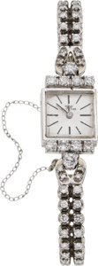 Estate Jewelry:Watches, Glycine Lady's Diamond, White Gold Wristwatch. ...