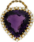 Estate Jewelry:Pendants and Lockets, Antique Amethyst, Diamond, Cultured Pearl, Gold Pendant. ...