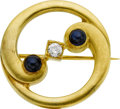 Estate Jewelry:Brooches - Pins, Sapphire, Diamond, Gold Brooch, Early 20th Century. ...