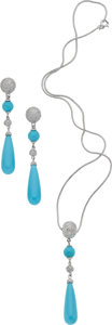 Estate Jewelry:Suites, Turquoise, Diamond, White Gold Jewelry Suite. ...