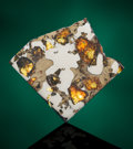 Meteorites:Palasites, GLORIETA MOUNTAIN METEORITE - PARTIAL SLICE. Pallasite -Pal-ANOM. Glorieta Mountain, New Mexico - (35° 36'N, 105°48'...