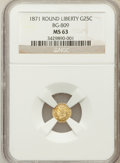 California Fractional Gold: , 1871 25C Liberty Round 25 Cents, BG-809, Low R.4, MS63 NGC. NGCCensus: (9/10). PCGS Population (19/54). (#10670)...