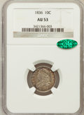 Bust Dimes, 1836 10C AU53 NGC. CAC. NGC Census: (9/163). PCGS Population(20/133). Mintage: 1,190,000. Numismedia Wsl. Price for pr...