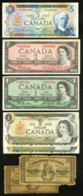 Canadian Currency: , Two 1870 Shinplasters and More.. ... (Total: 7 notes)