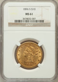 Liberty Eagles: , 1896-S $10 MS61 NGC. NGC Census: (36/37). PCGS Population (25/40).Mintage: 123,750. Numismedia Wsl. Price for problem free...