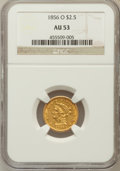 Liberty Quarter Eagles: , 1856-O $2 1/2 AU53 NGC. NGC Census: (17/76). PCGS Population(9/19). Mintage: 21,100. Numismedia Wsl. Price for problem fre...