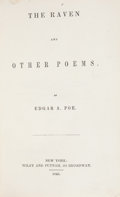 Books:Literature Pre-1900, Edgar Allan Poe. The Raven and Other Poems. New York: Wiley and Putnam, 1845. First edition. Octavo. ...