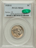 Buffalo Nickels: , 1935-S 5C MS66 PCGS. CAC. PCGS Population (396/28). NGC Census:(124/11). Mintage: 10,300,000. Numismedia Wsl. Price for pr...